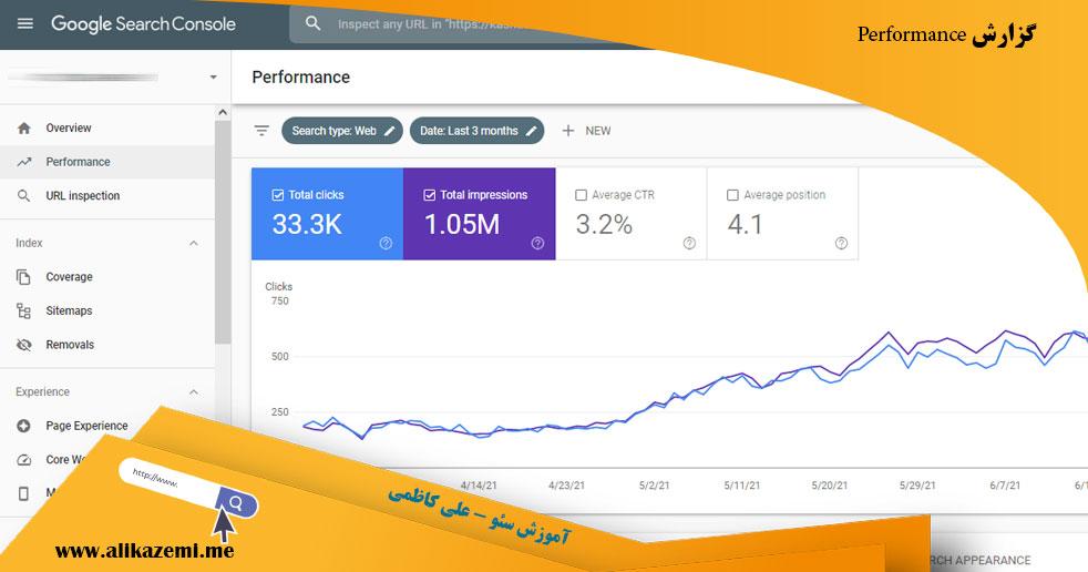 گزارش performance در کنسول گوگل